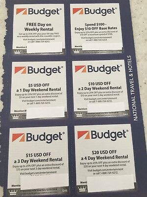 Budget Car Rental Coupons 12/31/2108