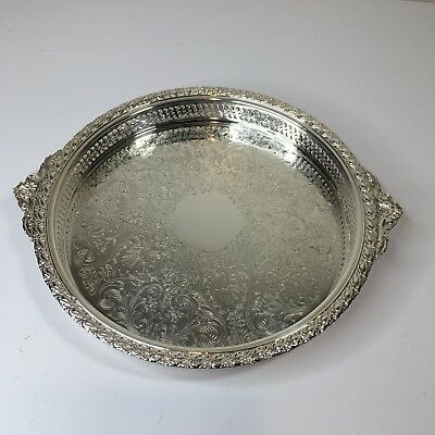 """Silver Plate Gaiety Wm Rogers & Son Round Tray With Handles 2171G 14-1/8"""" Dia"""