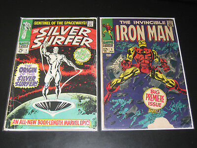 Vintage lot of 2 silver age Marvel Comics Iron Man #1 & Silver Surfer #1