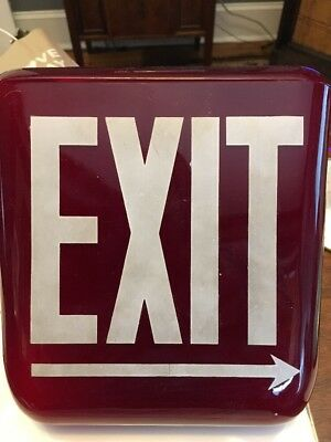 Vtg Brass Industrial Art Deco Theater Exit Sign Light Ruby Red Glass Old