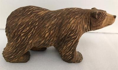 "Old Folk Art Nicely Carved Wooden Grizzly Bear 10"" X 5"" woods forrest cabin"