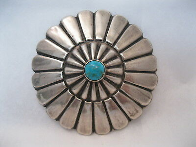 Lot 61 - Big Vintage Navajo Round Silver & Turquoise Concho Pin / Brooch