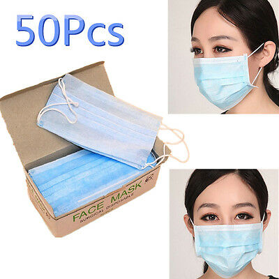 50Pcs/lot Disposable Surgical Face Mask Anti-Dust Anti-smog Mouth Mask Ear Loop