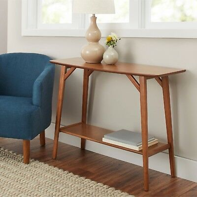 Modern Mid Century Design Solid Wood Warm Pecan Stand Sofa Console Table Shelf