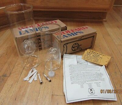 """WOLFARD GLASS OIL LAMPS in Boxes - Set of two 12"""" and 9"""""""