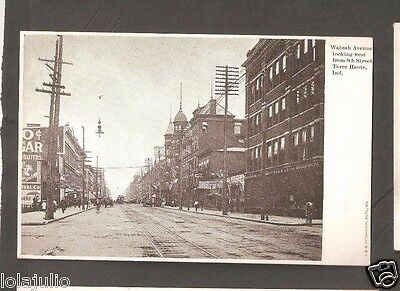 Vtg Postcard Wabash Ave west from 8th St Terre Haute Ind Indiana Undivided Back