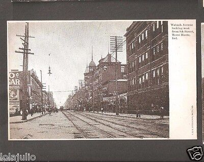 Vtg Postcard Wabash Ave 8th St Terre Haute Ind Indiana Undivided Back Glitter