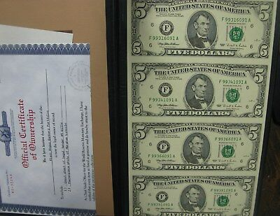 Uncut Sheet of (4) Series 1995 Five 5 Dollar Notes Certified World Reserve