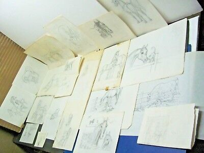Vintage Lot Box of Shary B. Akers HORSE SKETCHES DRAWINGS No.1 Lot of 20
