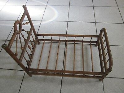 Antique Victorian Stick and Ball Oak Victorian Doll Bed