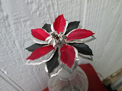 HAT PIN Vintage Red+Black Metal Flower Antique Style