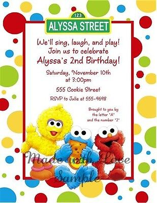 10 - Sesame Street Elmo Cookie Baby Birthday Party Invitations 1st 2nd 3rd 4th