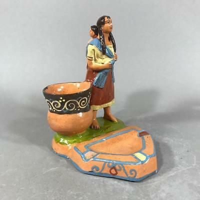 Vtg Mexican Tlaquepaque Pottery 'Mother & Child' Figural Ashtray w/ Match Holder