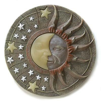 Celestial Sun Moon and Stars Glow in the Dark Garden Stepping Stone Wall Plaque