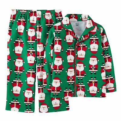 f6098db6a276 CARTERS INFANT BOYS Green Flannel Santa Claus Christmas Holiday ...