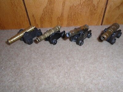 """Set Of 4 Vintage PENNCRAFT Cast Iron & Brass Toy Civil War Cannons VGC 3""""X1X1.5"""""""