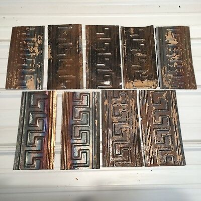 "9pc Lot of 12"" by 5"" Antique Ceiling Tin Vintage Reclaimed Salvage Art"