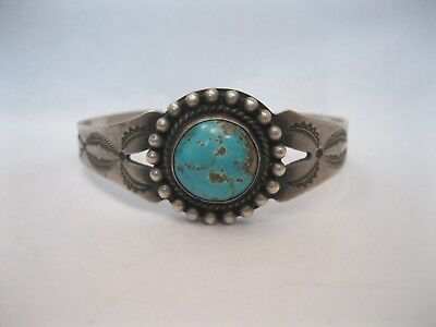 Lot 72 - Beautiful Old Navajo Fred Harvey Silver & Turquoise Bracelet
