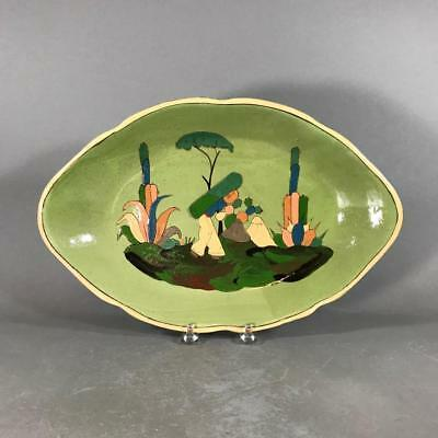 Vintage Mexican Tlaquepaque Green Ground 'Man and Cacti' Pottery Platter