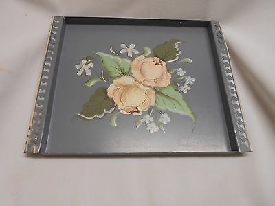 vintage Holly House tole ware painted chippy paint serving tray cottage floral