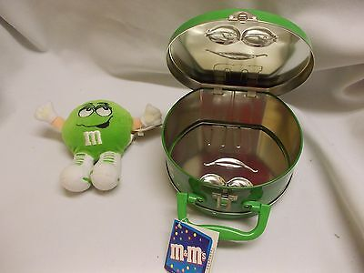 "LIME GREEN M&M's 5"" swarmee soft doll & suitcase carry case storage  tin  EUC"