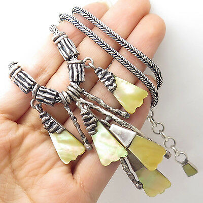 """Vtg 950 Silver Yellow Mother-Of-Pearl Boho Modernist Wheat Chain Necklace 18"""""""