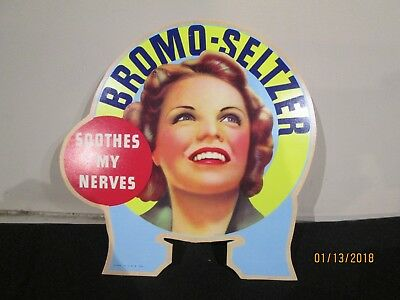 Hard To Find Bromo-Seltzer Advertising Fan Pull Bottle Topper Sign 1933 - Nice!