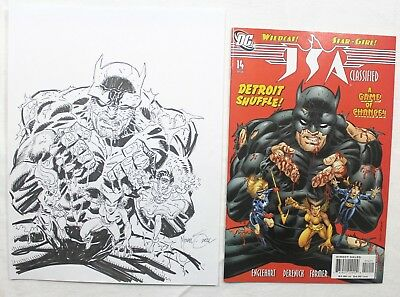 Original Comic Art JSA Classified #14 Cover Sketch by Mike Zeck Signed