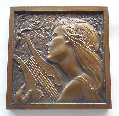 Antique Bronze Art Nouveau Medal of Woman with Lyre by M. Norte