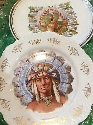 1910 Indian Chief Advertising Calendar Plate And 1912 Indian Maiden Plate