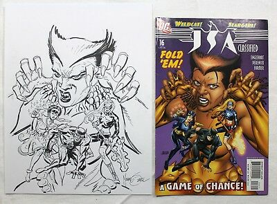 Original Comic Art JSA Classified #16 Cover Sketch by Mike Zeck Signed