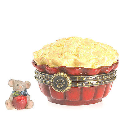 "BOYDS BEARS TREASURE BOX SET ""GALA'S APPLE PIE w/ McNIBBLE"" NEW  FREE SHIPPING"