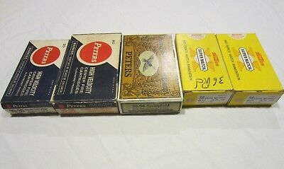 Lot of 5 Vintage Empty Ammo Boxes 30-06, .38 Special, 30-30 Western, Peters