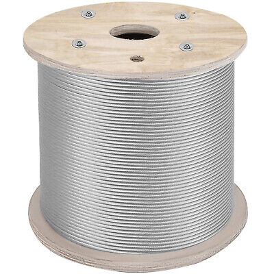 """1/8"""" 1x19 Stainless Steel Cable Wire Rope 1000 ft T316  Commercial Grade Strand"""
