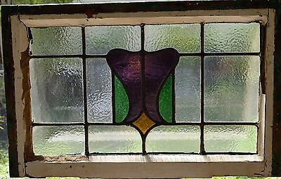 Antique Leaded English Stained Glass Window Wood Frame England Old House 35