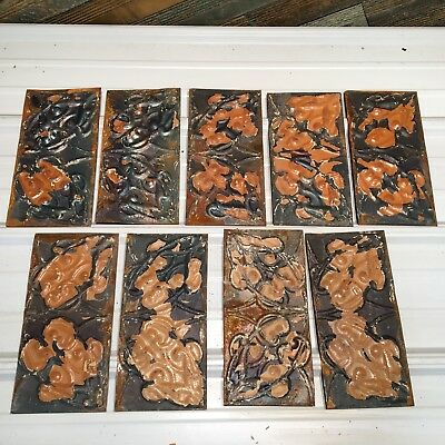 "9pc Lot of 12"" by 6"" Antique Ceiling Tin Vintage Reclaimed Salvage Art"