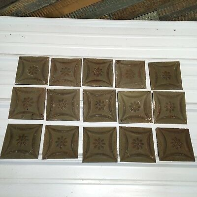 "15pc Lot of 6"" and under Antique Ceiling Tin Vintage Reclaimed Salvage Art"
