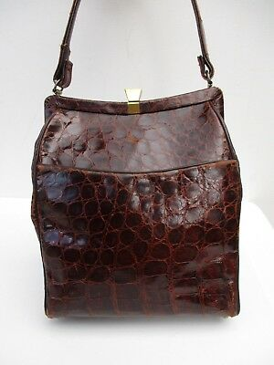Vintage 30s 40s 50s 60s Genuine EXOTIC ALLIGATOR CROCODILE Doctor Dr Bag Handbag