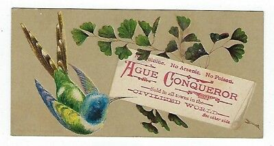 Ague Conqueror Fever & Ague Cure late 1800's medicine trade card #A