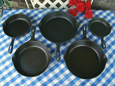 Unmarked Wagner Ware Cast Iron 5 Piece Skillet Set - #3, #5, #6, #7, #8