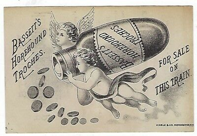 Bassett's Horehound Troches late 1800's train medicine trade card