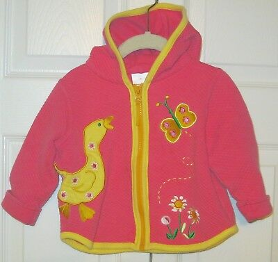 HANNA ANDERSSON Girls Hoodie Top/Jacket ~ Hot Pink w/ Yellow~Sz 80/US2~FREE SHIP