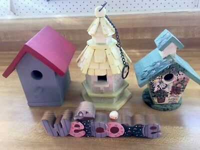 4PC Decorative Painted Wood Birdhouse Set 3 Houses+Welcome