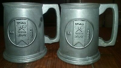 Pair of Michelob Light 1983 Pewter Tankards Steins Mugs