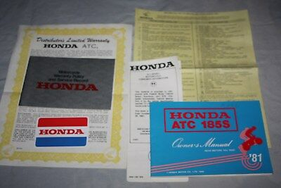 Group of 1981 Honda ATC 185S Literature-Owners Manual- Warranty Info- I.D. Card+