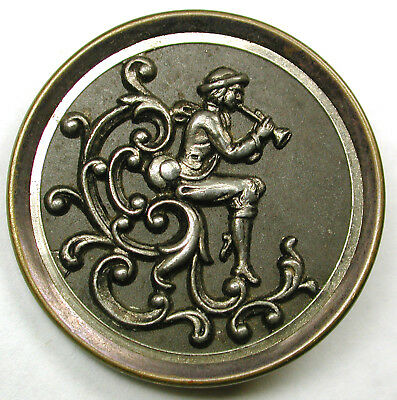 """Antique Pewter &Brass Button Seated Figure Playing a Flute Image - 1 & 1/2"""""""