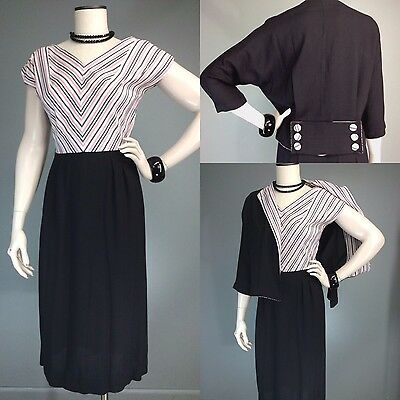 Vtg 40s 50s Chevron Pink Black Martha Manning Dress Jacket Deco Set 27 waist