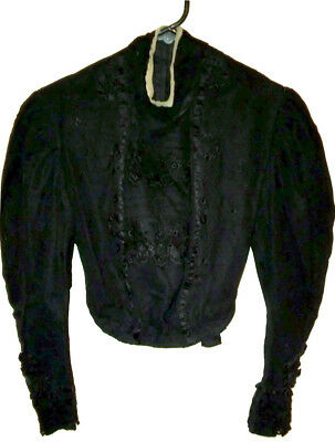 Antique Vintage Victorian Mourning Blouse Black Embroidered Chantilly Lace WOW!!
