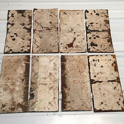"8pc Lot of 12"" by 6"" Antique Ceiling Tin Vintage Reclaimed Salvage Art"