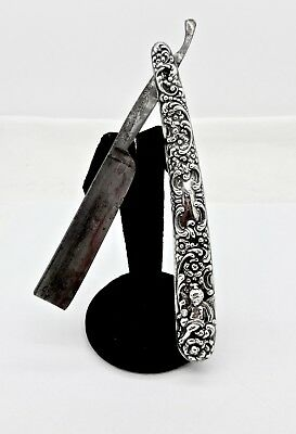 Antique Unger Bros. Sterling Silver Cupid Floral Repousse Straight Razor,griffon